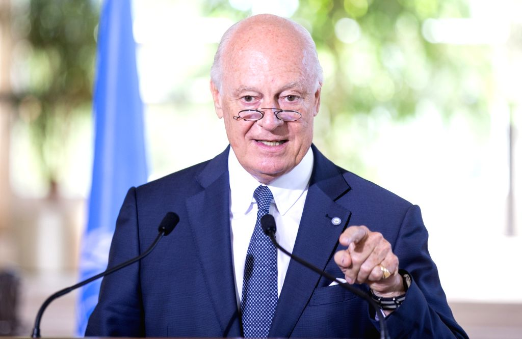 GENEVA, Aug. 17, 2017 - UN Special Envoy for Syria Staffan de Mistura addresses a press briefing after a meeting of the International Syria Support Group's Humanitarian Access Task Force at Palais ...