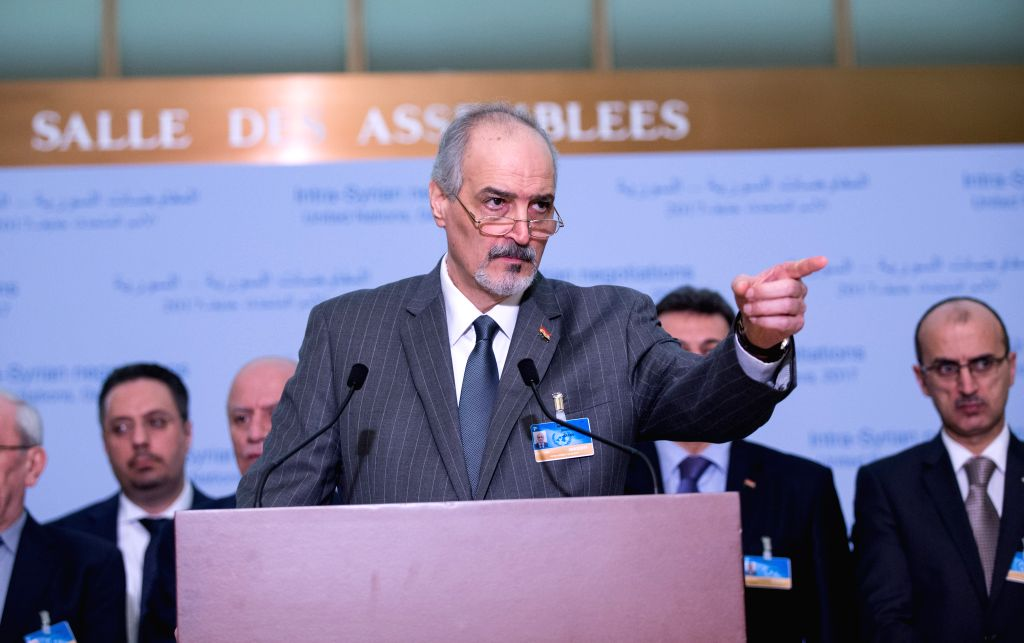 GENEVA, Feb. 26, 2017 - UN Permanent Representative of the Syrian Arab Republic Bashar Jaafari (Front), who leads the Syrian government delegation, gestures at a news conference after meeting with UN ...