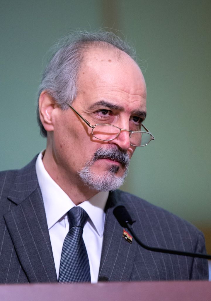 GENEVA, Feb. 26, 2017 - UN Permanent Representative of the Syrian Arab Republic Bashar Jaafari, who leads the Syrian government delegation, listens during a news conference after meeting with UN ...