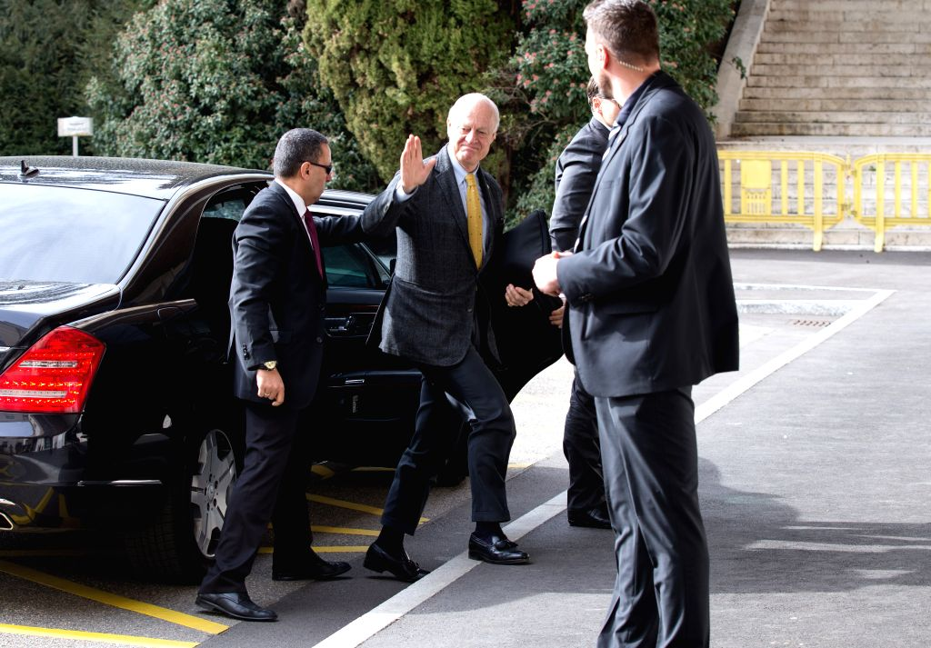 GENEVA, Feb. 26, 2017 - UN Special Envoy for Syria Staffan de Mistura (C) arrives at Palais des Nations in Geneva, Switzerland, on Feb. 26, 2017. The UN-mediated latest round of intra-Syrian peace ...