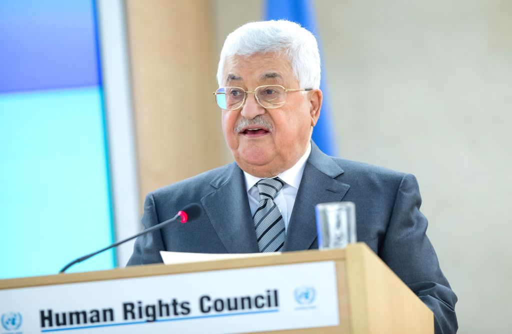 GENEVA, Feb. 27, 2017 - Palestinian President Mahmoud Abbas delivers a speech at the opening of the 34th Human Rights Council (HRC) session in Geneva, Switzerland, Feb. 27, 2017. (Xinhua/Xu Jinquan)