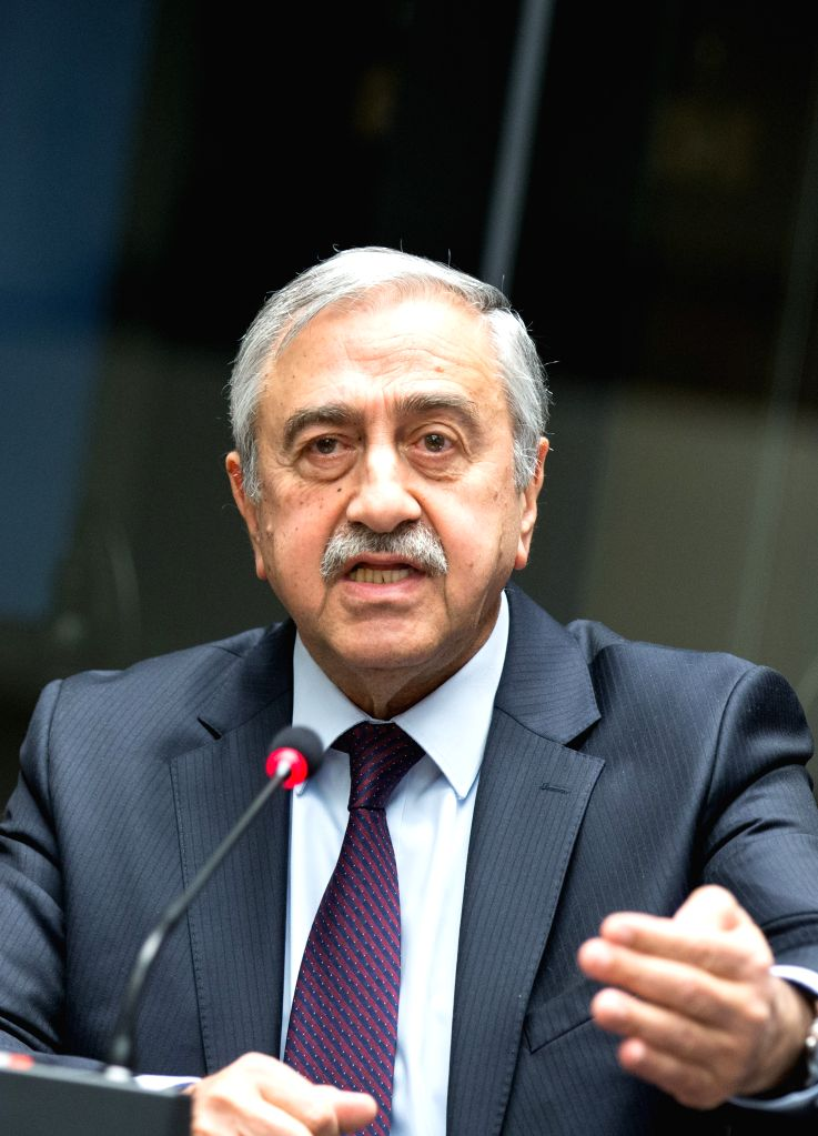 GENEVA, Jan. 13, 2017 - Turkish Cypriote leader Mustafa Akinci attends a press conference in Geneva, Switzerland, on Jan. 13, 2017. The Turkish Cypriote leader said Friday that ongoing Cyprus ...