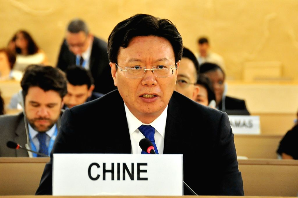 GENEVA, July 2, 2018 - Head of the Chinese Mission to the United Nations in Geneva Yu Jianhua addresses the 38th session of the United Nations Human Rights Council at the Palais des Nations in ...