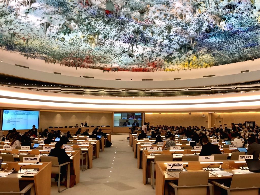 GENEVA, July 2, 2018 - Photo taken on July 2, 2018 shows a general view of the 38th session of the United Nations Human Rights Council at the Palais des Nations in Geneva, Switzerland. Head of the ...