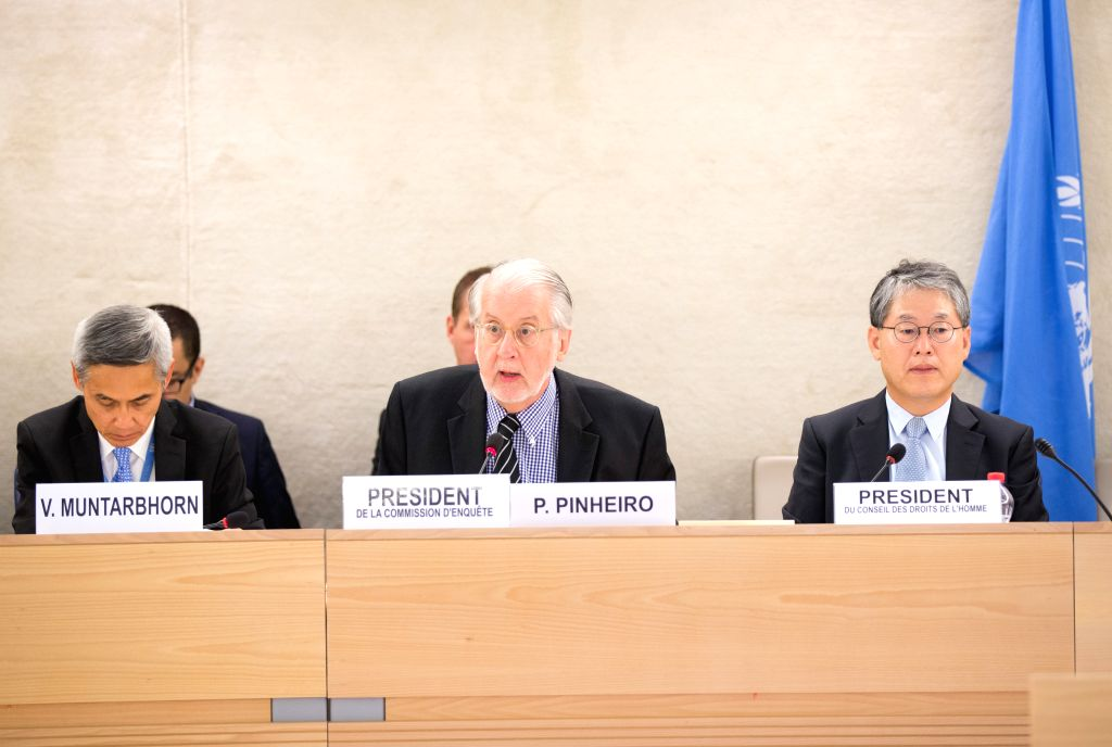 GENEVA, June 21, 2016 - Paulo Pinheiro (C), head of the Independent Commission of Inquiry on Syria, gives an oral update to the Human Rights Council (HRC) which is currently holding its 32nd session ...
