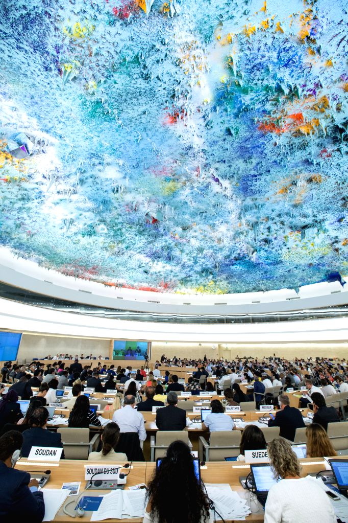 GENEVA, June 22, 2017 - Delegates attend a plenary meeting of the UN Human Rights Council session in Geneva, Switzerland, on June 22, 2017. The UN Human Rights Council on Thursday adopted a ...