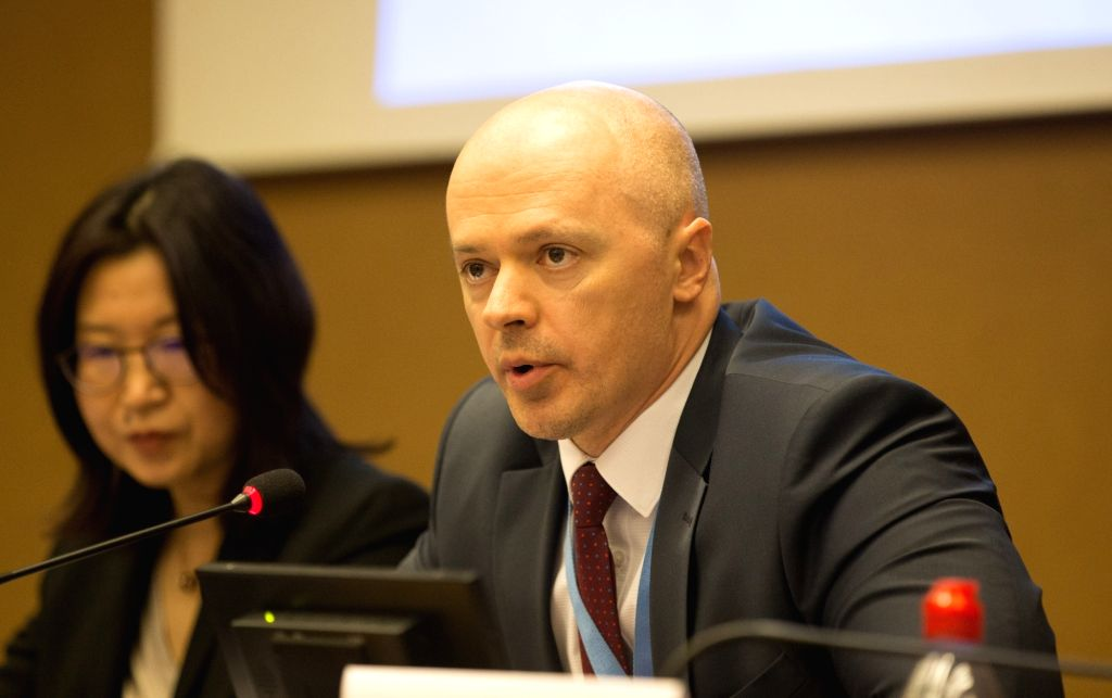 GENEVA, March 14, 2019 - Belarusian Deputy Permanent Representative to the UN Office at Geneva Vadim Pisarevich (R) speaks on a UN side-event as part of the 40th session of the UN Human Rights ...