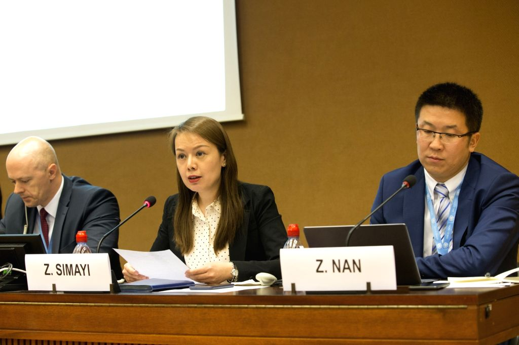 GENEVA, March 14, 2019 - Professor from the School of Politics and Public Administration of Xinjiang University Zuliyati Simayi (C) attends a UN side-event as part of the 40th session of the UN Human ...