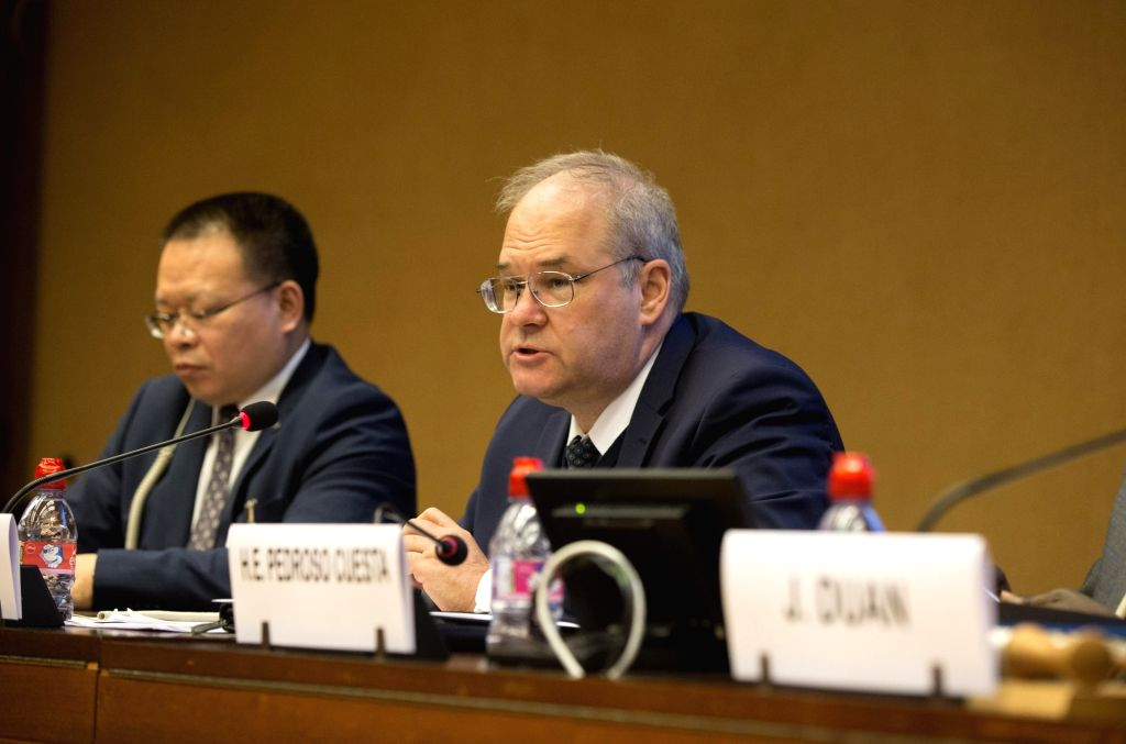 GENEVA, March 14, 2019 - Russian Deputy Permanent Representative to the UN Office at Geneva Nikita Zhukov (2nd L) speaks on a UN side-event as part of the 40th session of the UN Human Rights Council ...