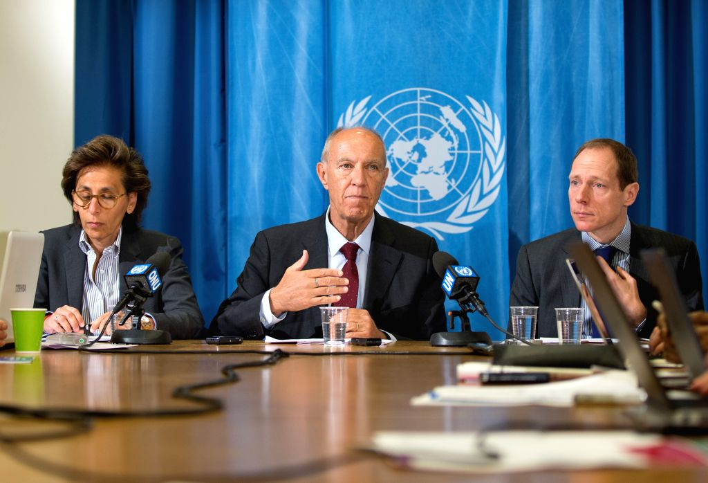 GENEVA, March 16, 2017 - World Intellectual Property Organization (WIPO) Director General Francis Gurry (C) addresses a press conference in Geneva, Switzerland, March 15, 2017. Francis Gurry on ...