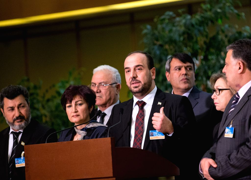 GENEVA, March 3, 2017 - Syria's opposition delegation leader Nasr al-Hariri (front) attends a press conference at Palais des Nations in Geneva, Switzerland, March 3, 2017. The latest round of ...