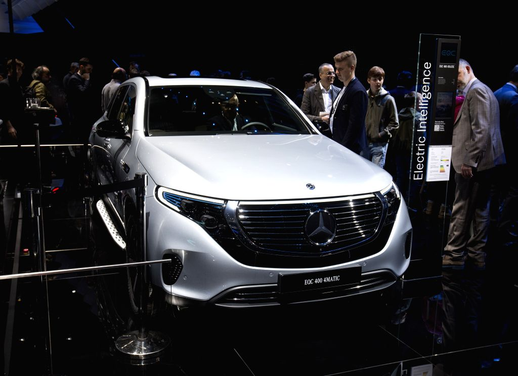 GENEVA, March 6, 2019 - Photo taken on March 6, 2019 shows the Mercedes-Benz EQC 400 4MATIC at the 89th Geneva International Motor Show in Geneva, Switzerland. Electric cars and hybrid cars are ...