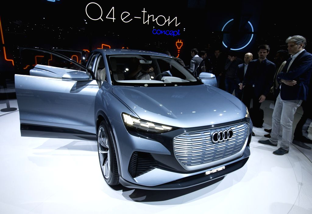 GENEVA, March 6, 2019 - Photo taken on March 6, 2019 shows the Audi Q4 e-tron concept at the 89th Geneva International Motor Show in Geneva, Switzerland. Electric cars and hybrid cars are highlights ...