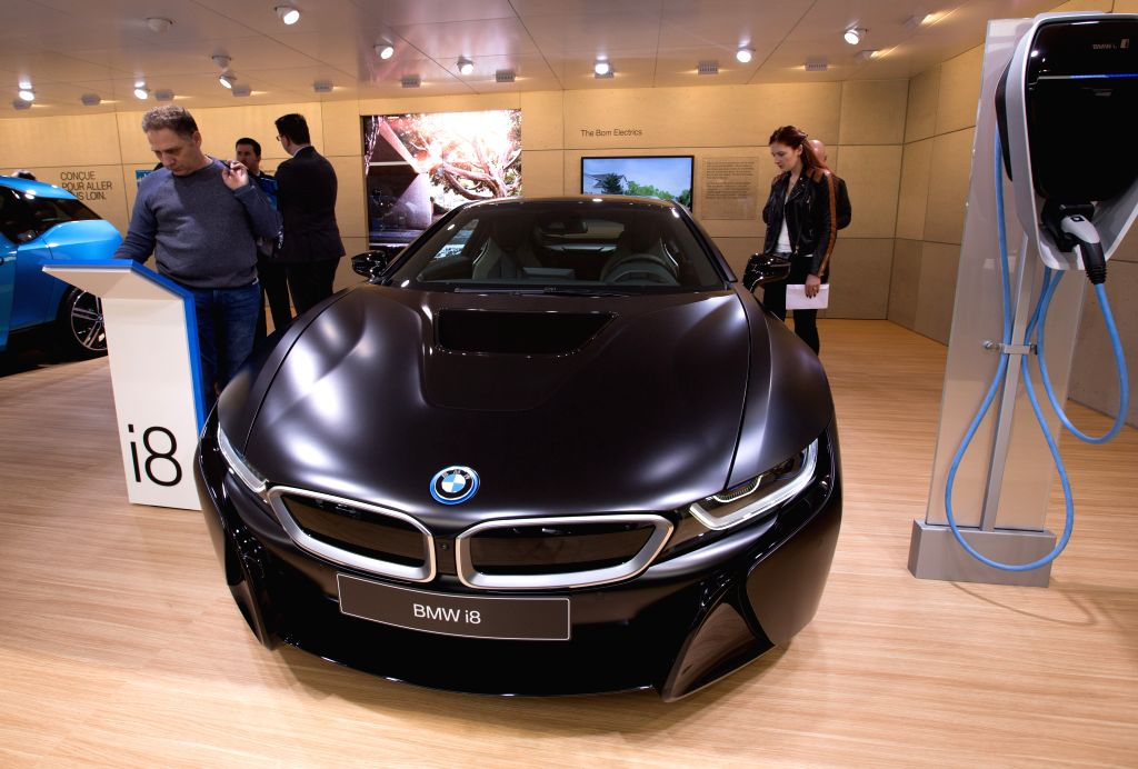 GENEVA, March 8, 2017 - A BMW i8 is seen on the second press day of the 87th International Motor Show in Geneva, Switzerland, on March 8, 2017.