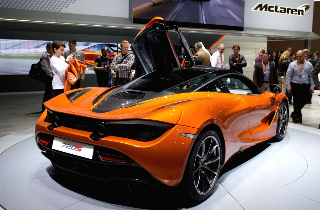 GENEVA, March 9, 2017 - A Mclaren 720s car is seen on the first public day of the 87th Geneva International Motor Show in Geneva, Switzerland, March 9, 2017.