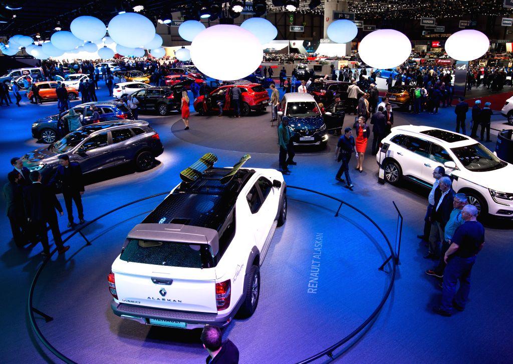 GENEVA, March 9, 2017 - People visit the 87th Geneva International Motor Show in Geneva, Switzerland, on the first public day, March 9, 2017.