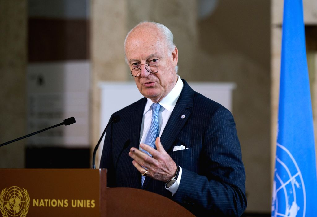 GENEVA, May 11, 2017 - The UN special envoy for Syria Staffan de Mistrua holds a press conference in Geneva, Switzerland, May 11, 2017. Staffan de Mistrua confirmed Thursday that the next round of ...