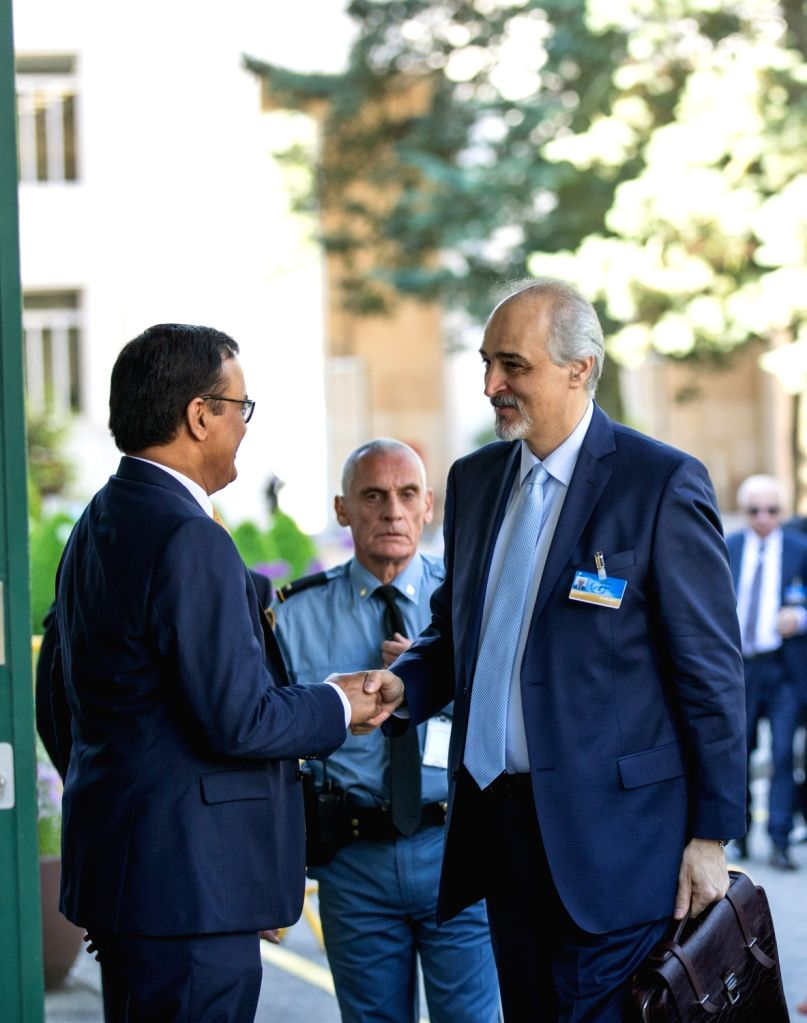 GENEVA, May 16, 2017 - Head of Syrian government delegation Bashar al-Jaafari (R) arrives for a new round of peace negotiations in Geneva, Switzerland, on May 16, 2017. UN Special Envoy for Syria ...