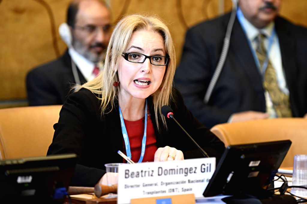 """GENEVA, May 25, 2018 - Beatriz Dominguez Gil, Director General of Spanish National Transplant Organization, speaks in a side meeting titled """"Toward the Universal Coverage of Solid Organ ..."""