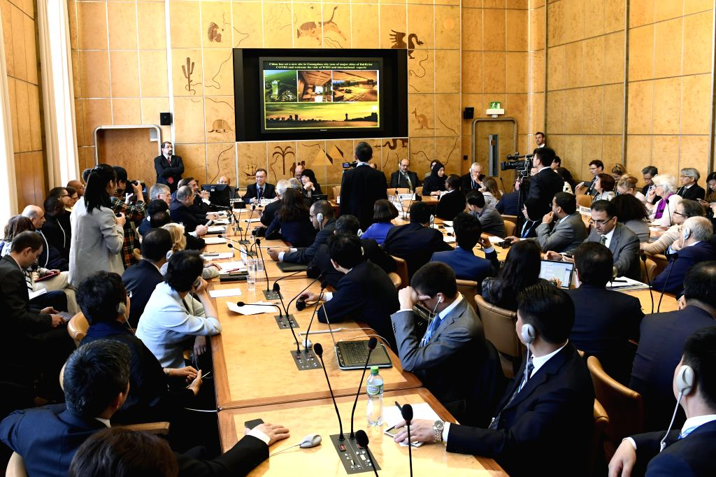 """GENEVA, May 25, 2018 - Delegates attend a side meeting titled """"Toward the Universal Coverage of Solid Organ Transplantation"""", during the 71st World Health Assembly in Geneva, Switzerland, ..."""