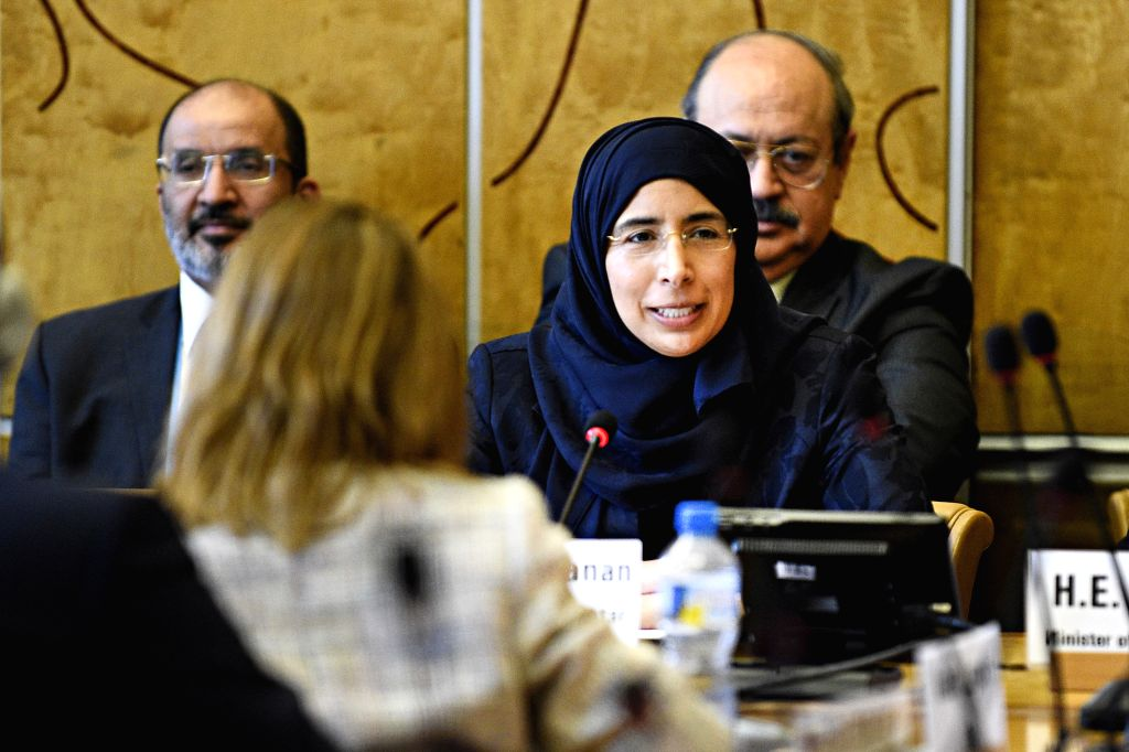 """GENEVA, May 25, 2018 - Dr. Hanan Mohamed al-Kuwari, Minister of Public Health of Qatar, speaks in a side meeting titled """"Toward the Universal Coverage of Solid Organ Transplantation"""", ..."""
