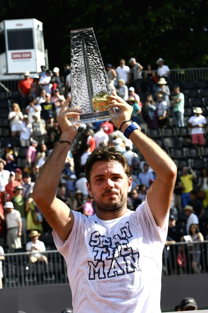 GENEVA, May 28, 2017 - Stanislas Wawrinka of Switzerland celebrates with the trophy during the awarding ceremony for the men's final at the Geneva Open ATP 250 Tennis tournament in Geneva, ...