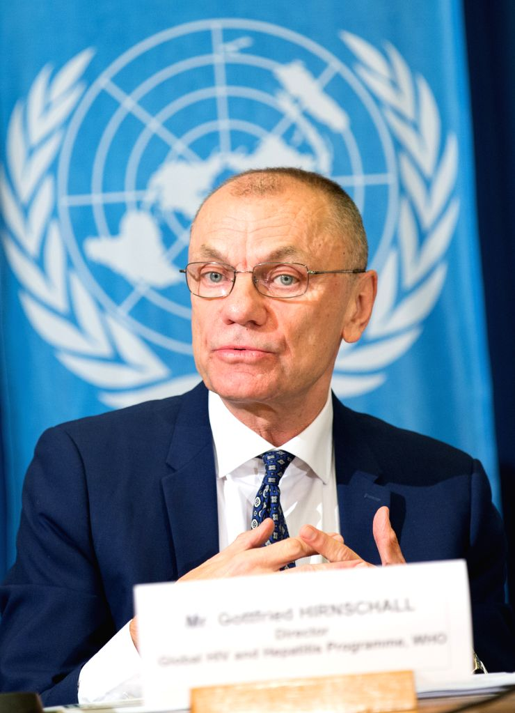 GENEVA, Nov. 29, 2016 - Gottfried Hirnschall, director of the World Health Organization's Department of HIV and Global Hepatitis Programme, speaks at a press conference in Geneva, Switzerland, on  ...