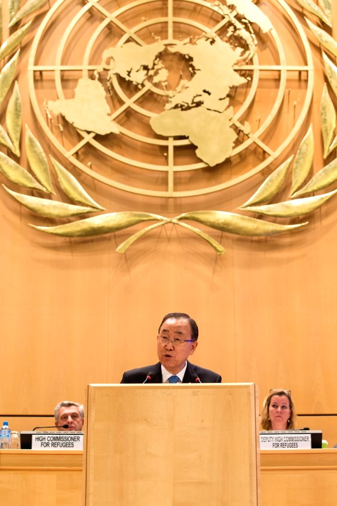 GENEVA, Oct. 3, 2016 - UN Secretary-General Ban Ki-moon delivers a speech at the opening of the Executive Committee of the High Commissioner for Refugees' Programme in Geneva, Switzerland, Oct. 3, ...