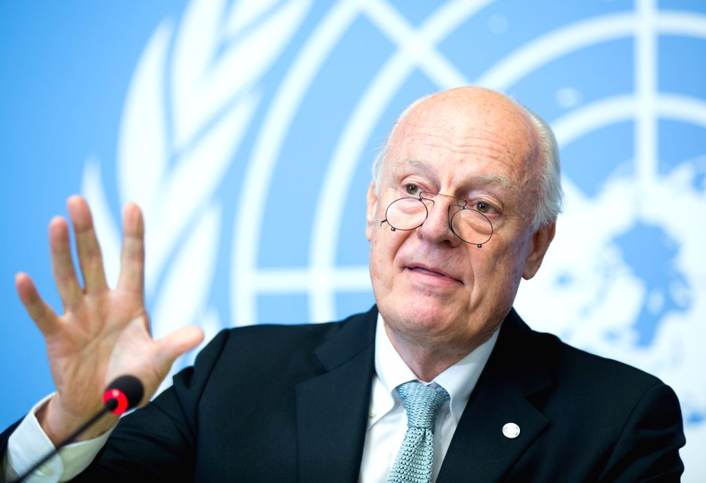 GENEVA, Oct. 6, 2016 - UN Special Envoy for Syria Staffan De Mistura holds a press conference in Geneva, Switzerland, Oct. 6, 2016. De Mistura on Thursday called the decision of the United States and ...