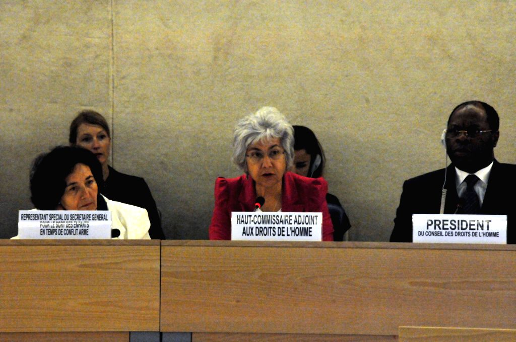 Flavia Pansieri (C), United Nations Deputy High Commissioner for Human Rights, speaks at the a special session of the United Nations Human Rights Council (HRC) on ...