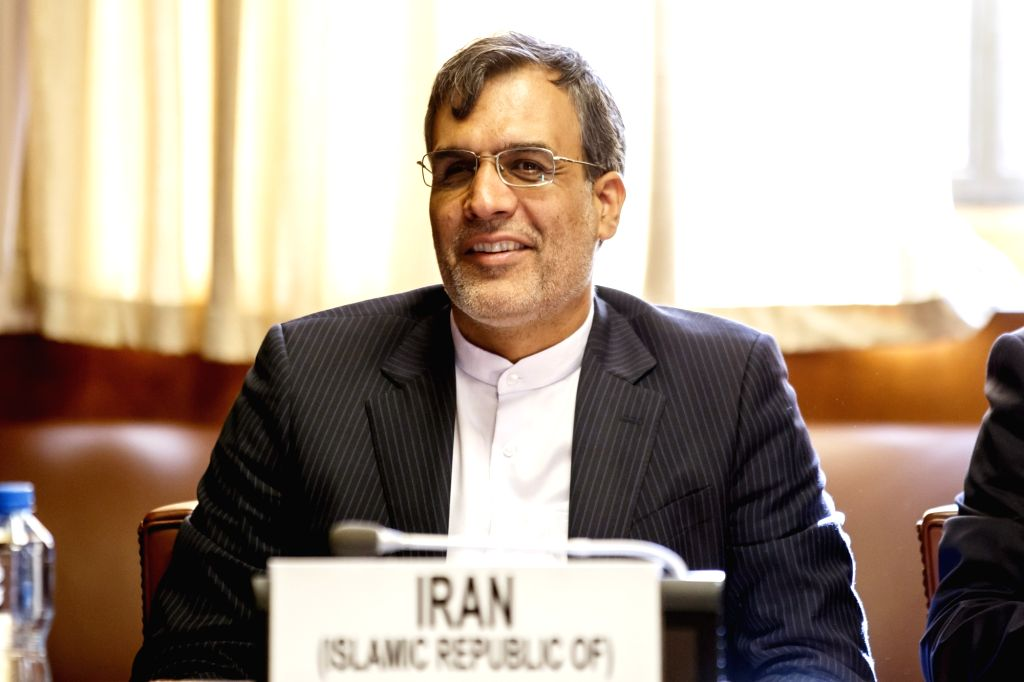 GENEVA, Sept. 11, 2018 - Iranian Foreign Minister's Special Assistant for Political Affairs Hossein Jaberi Ansari attends a meeting during the consultations on Syria in Geneva, Switzerland, on Sept. ...