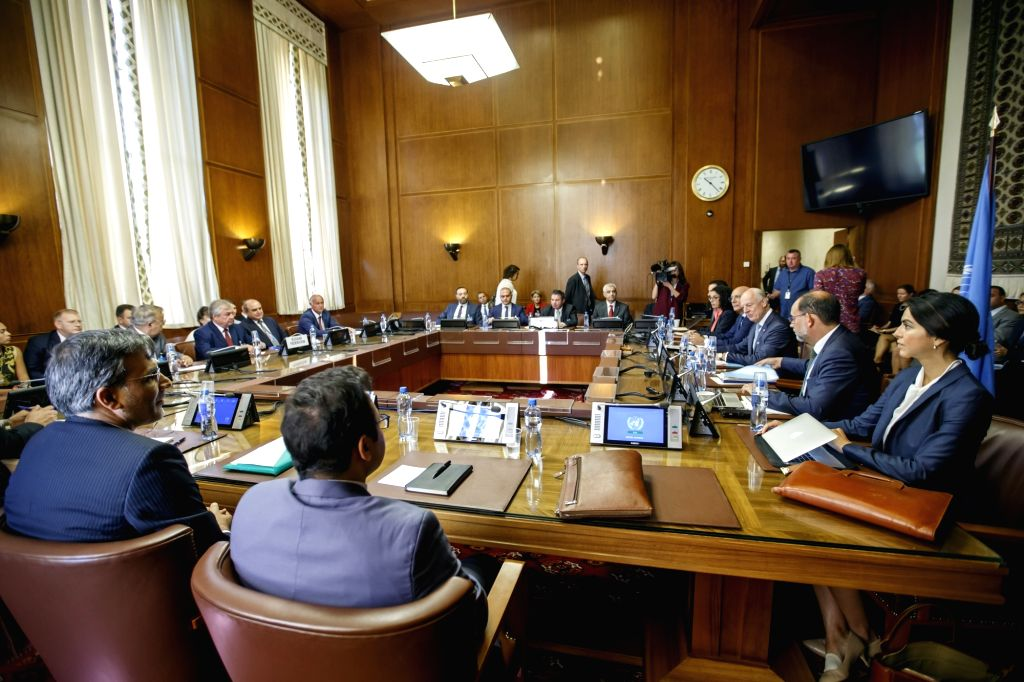 GENEVA, Sept. 11, 2018 - Photo taken on Sept. 11, 2018 shows a meeting during the consultations on Syria in Geneva, Switzerland. UN Special Envoy for Syria Staffan de Mistura on Tuesday continued to ...