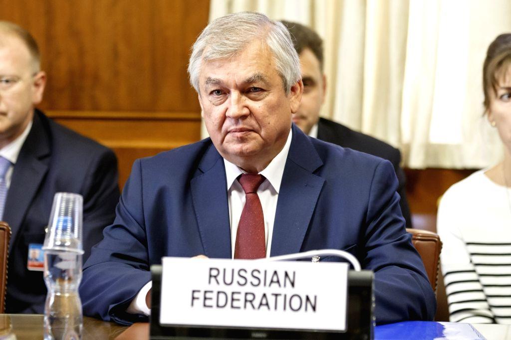 GENEVA, Sept. 11, 2018 - Russian President Vladimir Putin's special envoy for Syria Alexander Lavrentiev attends a meeting during the consultations on Syria in Geneva, Switzerland, on Sept. 11, 2018. ...