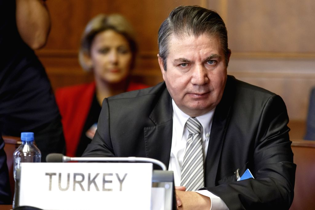 GENEVA, Sept. 11, 2018 - Turkish Deputy Foreign Minister Sedat Onal attends a meeting during the consultations on Syria in Geneva, Switzerland, on Sept. 11, 2018. UN Special Envoy for Syria Staffan ... - Sedat Onal