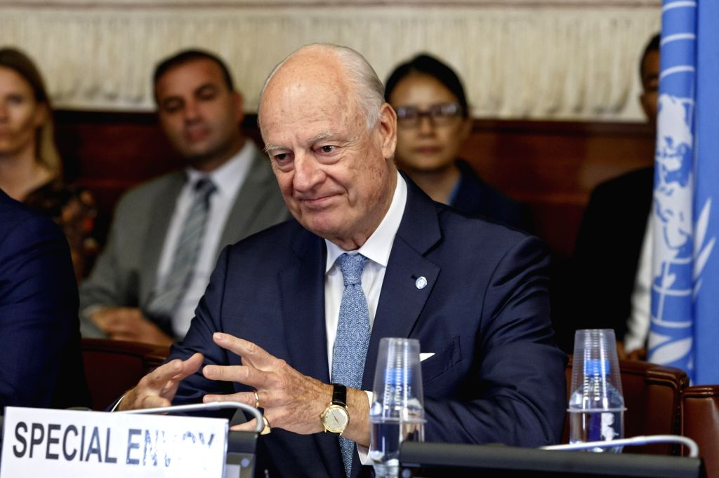 GENEVA, Sept. 11, 2018 - UN Special Envoy for Syria Staffan de Mistura attends a meeting during the consultations on Syria in Geneva, Switzerland, on Sept. 11, 2018. UN Special Envoy for Syria ...