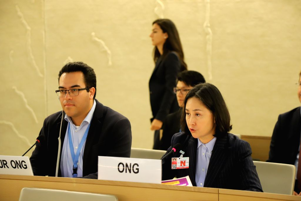 GENEVA, Sept. 11, 2019 - Pansy Ho Chiu-king, chairperson of the Hong Kong Federation of Women, speaks at the 42nd session of the UN Human Rights Council in Geneva, Switzerland, on Sept. 11, 2019. In ...