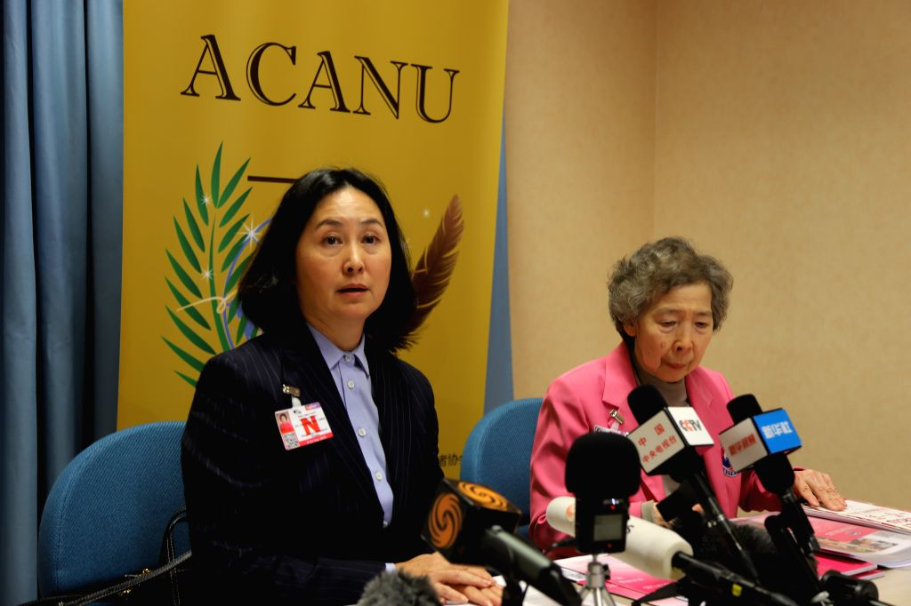 GENEVA, Sept. 12, 2019 - Pansy Ho Chiu-king  (L), chairperson of the Hong Kong Federation of Women, attends a press conference held by the UN correspondents' association (ACANU) in Geneva, ...