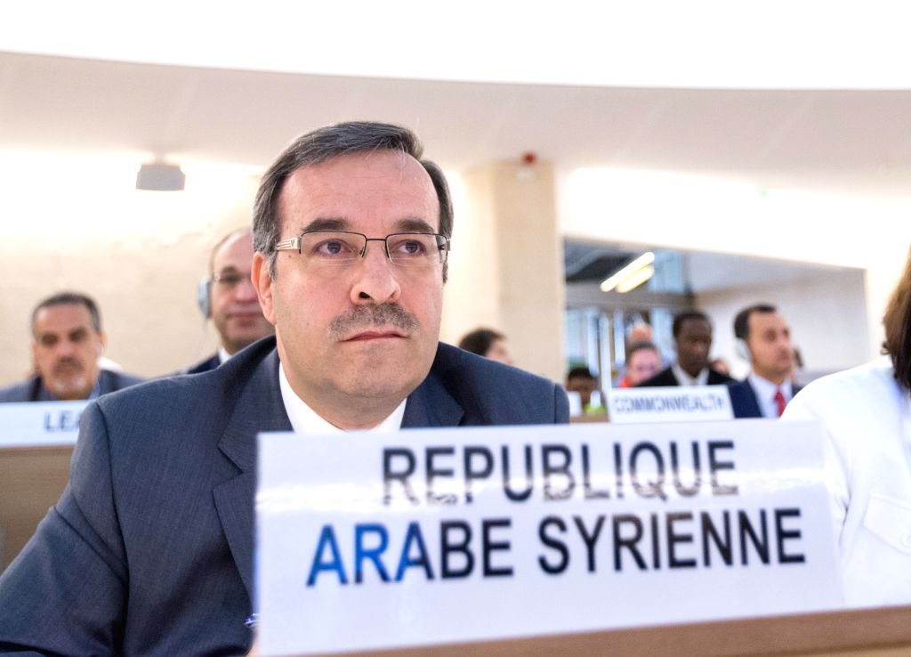 GENEVA, Sept. 19,  2016 - Hussam Edin Aala, Permanent Representative of Syrian Arab Republic to the United Nations Office at Geneva, attends the 33rd session of the Human Rights Council (HRC) in ...