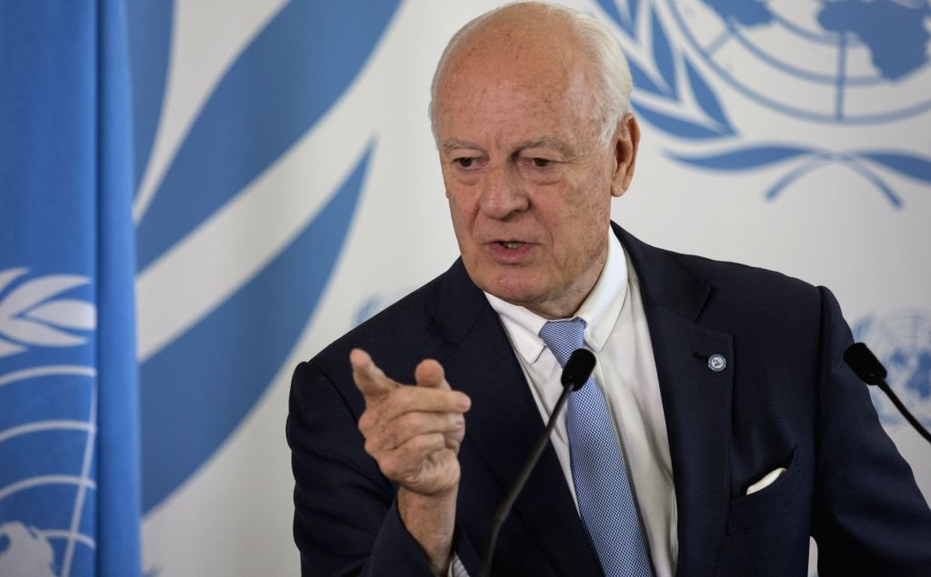 GENEVA, Sept. 4, 2018 - UN Special Envoy for Syria Staffan de Mistura addresses a press conference in Geneva, Switzerland, on Sept. 4, 2018. In a new UN-led effort to move forward the process to end ...