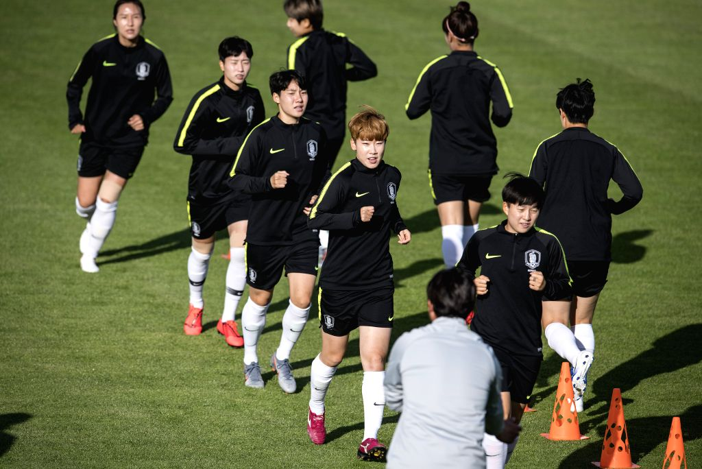 GENNEVILLIERS, June 7, 2019 - Players of South Korea attend a training for the upcoming opening match of FIFA Women's World Cup France 2019 between France and South Korea in Gennevilliers, France on ...