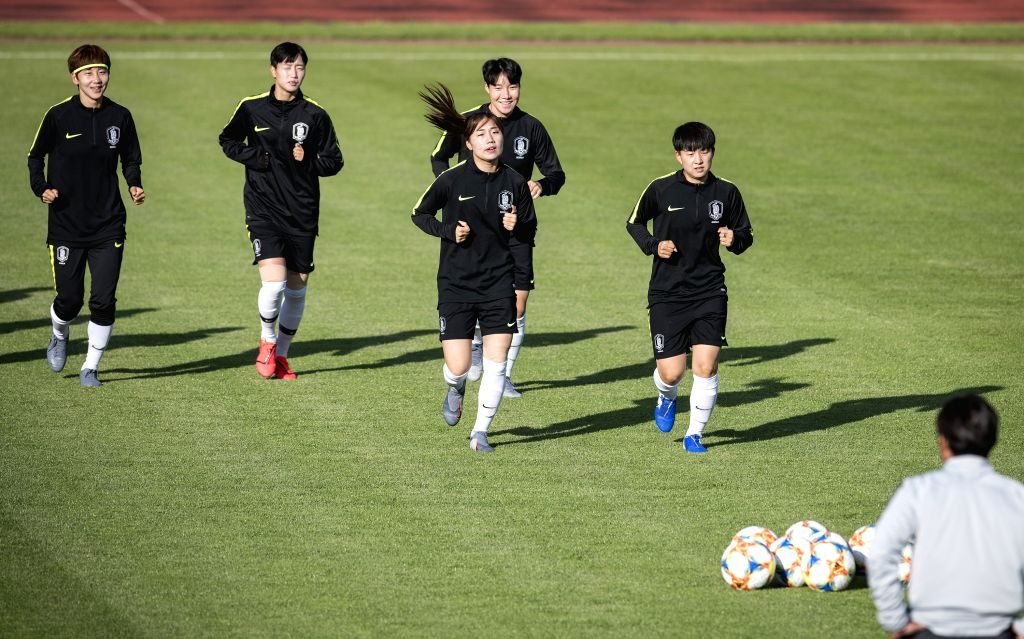 GENNEVILLIERS, June 7, 2019 - Players of South Korea attend a training session for the upcoming opening match of FIFA Women's World Cup France 2019 between France and South Korea in Gennevilliers, ...