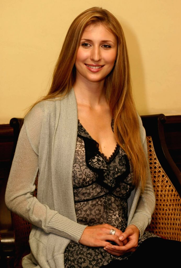 "German Actress and Model Claudia Ciesla at a press meet for the film ""Karma"", in New Delhi on Wednesday 10 June 2009."