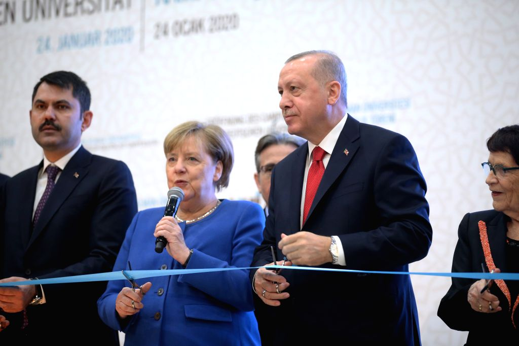 German Chancellor Angela Merkel (2nd L) attends the opening ceremony of the Turkish-German University with Turkish President Recep Tayyip Erdogan (3rd L) in ...