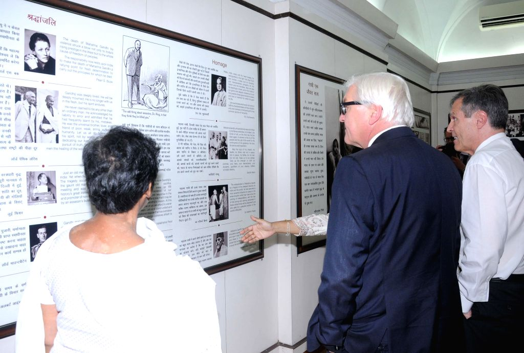German Foreign Minister Frank-Walter Steinmeier at the Mahatma Gandhi Memorial in New Delhi on Sept 7, 2014. - Frank-Walter Steinmeier