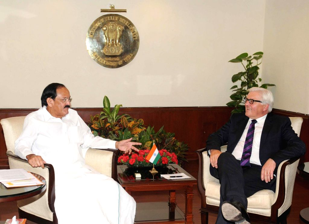 German Foreign Minister Frank-Walter Steinmeier calls on Union Minister for Urban Development, Housing and Urban Poverty Alleviation and Parliamentary Affairs M. Venkaiah Naidu in New Delhi on ... - Frank-Walter Steinmeier and M. Venkaiah Naidu