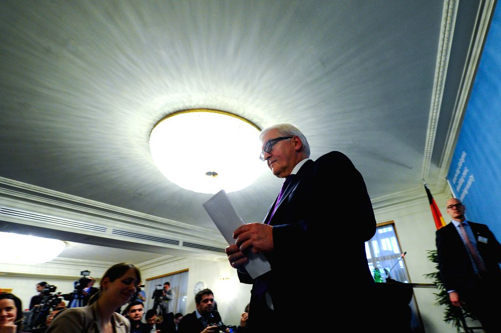 German Foreign Minister Frank-Walter Steinmeier attends a press conference after a meeting of the Permanent Council of Organization for Security and Cooperation in ... - Frank-Walter Steinmeier