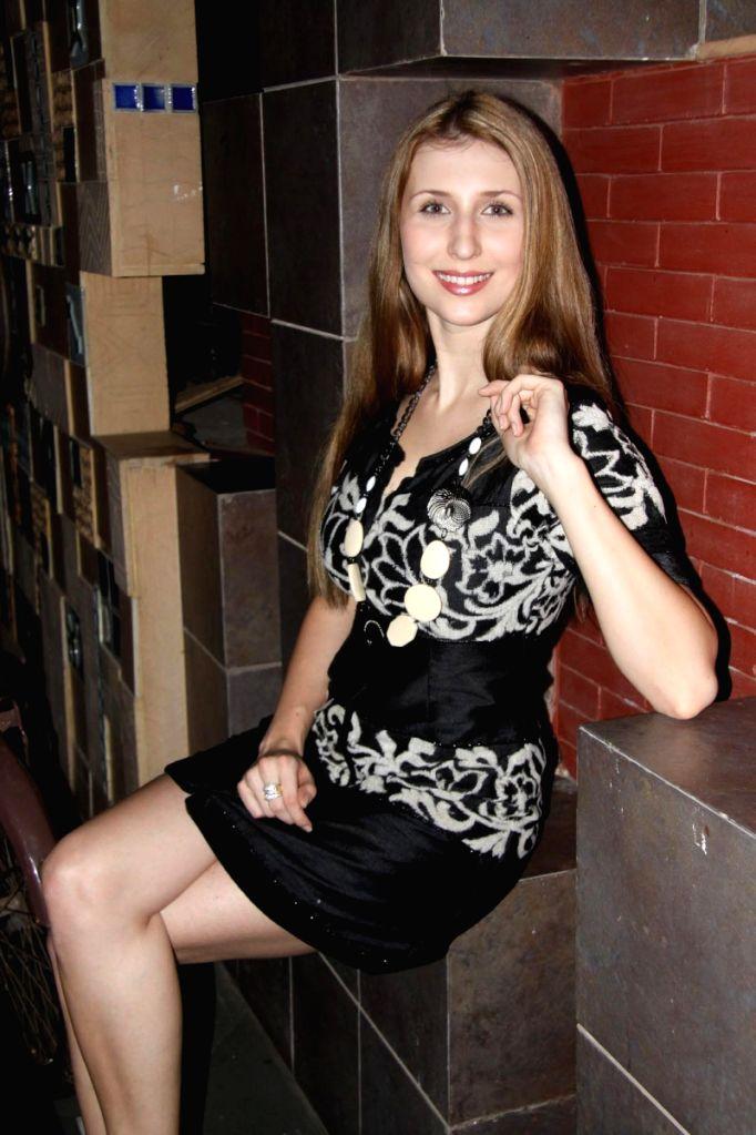 German model Claudia Ciesla in designer Umai Zafar wear.