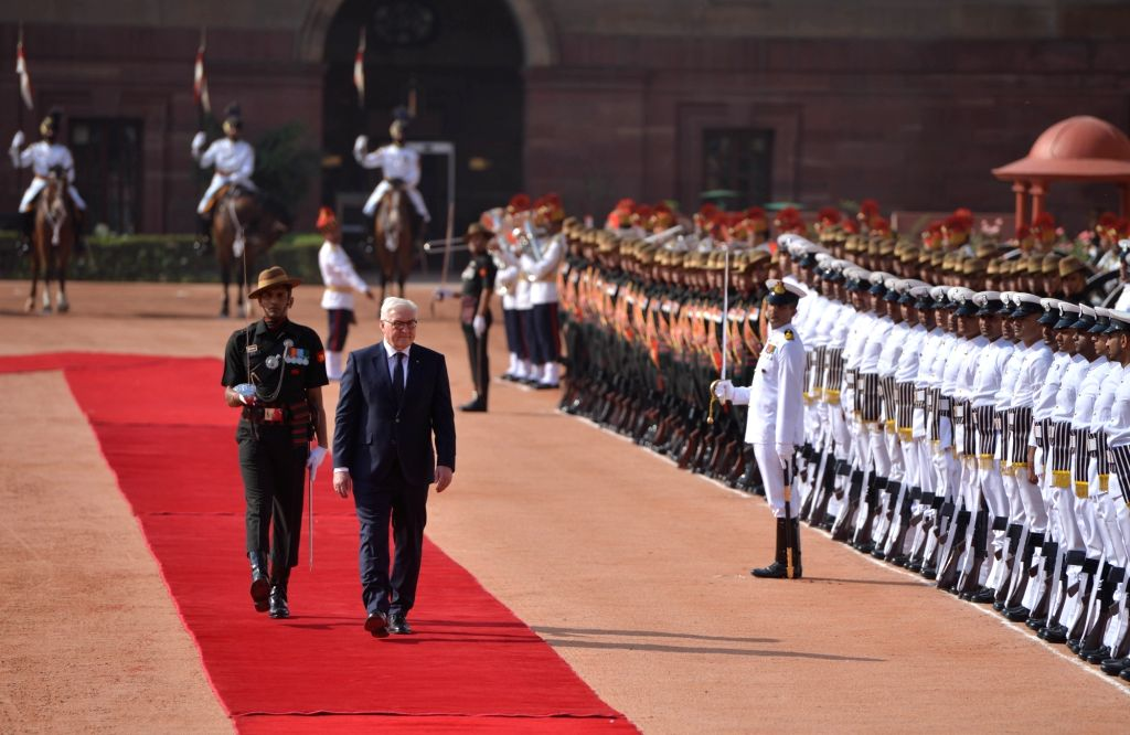 German President Frank-Walter Steinmeier inspects the Guard of Honour during a Ceremonial Reception at Rashtrapati Bhavan in New Delhi on March 24, 2018.
