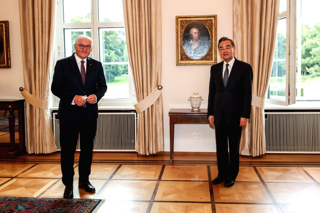 German President Frank-Walter Steinmeier (L) meets with visiting Chinese State Councilor and Foreign Minister Wang Yi in Berlin, capital of Germany, on Sept. 1, 2020. - Wang Y