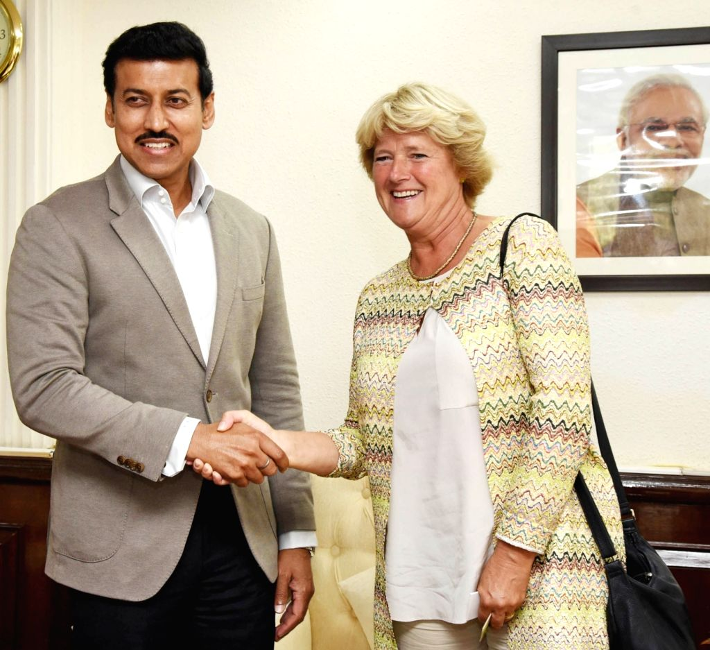Germany's Culture Minister Monika Gruetters meets Union MoS Youth Affairs and Sports Rajyavardhan Singh Rathore, in New Delhi, on Sept 17, 2018. - Monika Gruetters and Rajyavardhan Singh Rathore